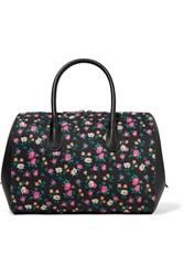 Nina Ricci Small Floral Print Canvas And Leather Tote Black