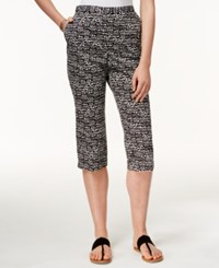 Alfred Dunner Pebble Print Cropped Pants Black White