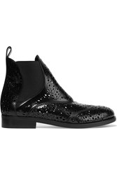 Alaia Laser Cut Glossed Leather Chelsea Boots