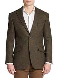 Tailorbyrd Regular Fit Herringbone Wool Sportcoat Green