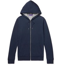 Ralph Lauren Purple Label Double Faced Pima Cotton Jersey Zip Up Hoodie Blue