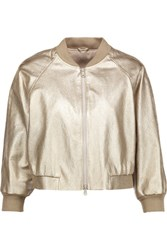 Brunello Cucinelli Cropped Metallic Textured Leather Bomber Jacket Shiny Gold