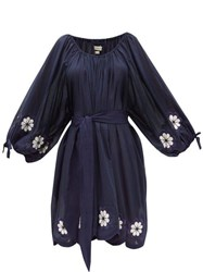 Innika Choo Frida Burds Embroidered Cotton Mini Dress Navy