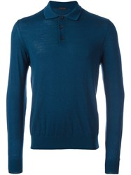 Z Zegna Button Collar Jumper Blue