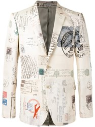 Alexander Mcqueen Letters From India Print Blazer Nude Neutrals