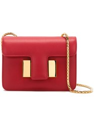 Tom Ford Foldover Top Crossbody Bag Women Calf Leather Sheep Skin Shearling Brass One Size Red