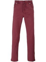 Kiton Slim Fit Trousers Red