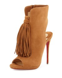 Christian Louboutin Ottaka Suede Fringe Red Sole Bootie Noisette