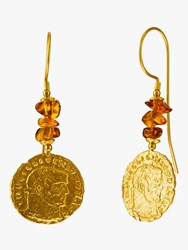 Be Jewelled Tumbled Baltic Amber Antique Coins Drop Earrings Gold Cognac
