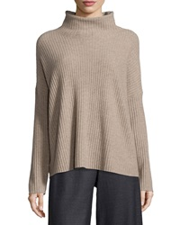 Eileen Fisher Boxy Funnel Neck Cashmere Sweater