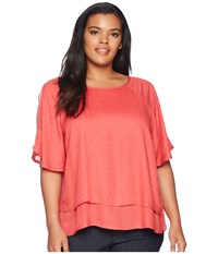 B Collection By Bobeau Plus Size Sawyer Swiss Dot Blouse Hibiscus Pink