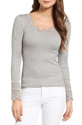 Rosemunde Women's Silk And Cotton Rib Knit Tee Light Grey