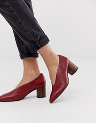 Vagabond Deep Red Leather Heeled Pumps With Wooden Heel Red