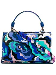 Emilio Pucci Printed Mini Satchel Blue
