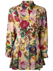 Kenzo Vintage Floral Print Tunic Blouse Nude And Neutrals