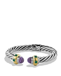 David Yurman Renaissance Bracelet With Amethyst Green Onyx And Gold Silver Yellow Gold