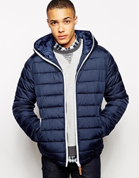 Solid Solid Hooded Panel Jacket Navy