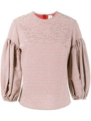 Rosie Assoulin Gingham Puff Sleeve Top Red