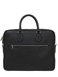 Bally Pebbled Leather Briefcase Black