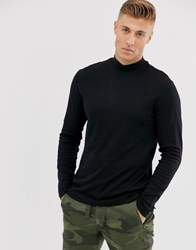 New Look Turtle Neck Long Sleeve T Shirt In Black