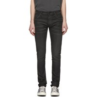 Nudie Jeans Black Denim Thin Finn Coated