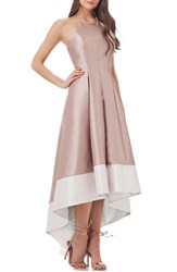 Carmen Marc Valvo Infusion Women's Embellished Colorblock Halter Gown Gold Ivory