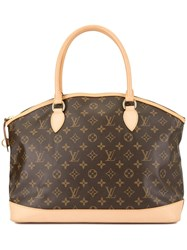 Louis Vuitton Vintage Lockit Vertical Tote Brown