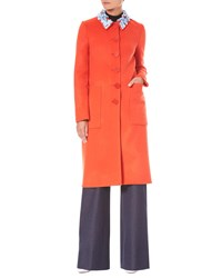 Carolina Herrera Button Front Embroidered Collar Wool Cashmere Coat Orange Pattern
