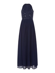 Lace And Beads High Neck Embellished Maxi Dress. Navy