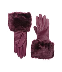 Ted Baker Emree Faux Fur Cuff Gloves Grape Extreme Cold Weather Gloves Purple