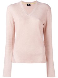 Paul Smith Ps By Glitter Effect V Neck Jumper Pink Purple