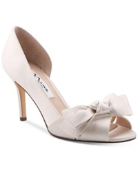 Nina Forbes 2 Bow Peep Toe D'orsay Evening Pumps Women's Shoes Ivory