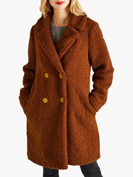 Yumi Double Breasted Teddy Coat Brown