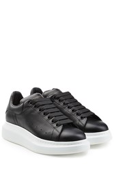 Alexander Mcqueen Leather Sneakers With Thick Soles Multicolor