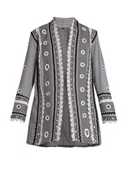 Dodo Bar Or Zur Eyelet Embellished Cotton Kimono Jacket Black White