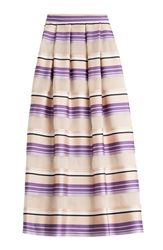 Alberta Ferretti Striped Maxi Skirt With Silk