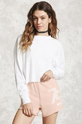 Forever 21 75 Graphic Raw Cut Shorts Pink White