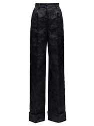 Dolce And Gabbana Floral Jacquard Wide Leg Trousers Black