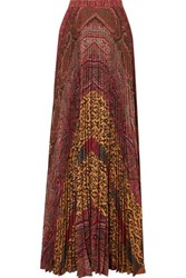Etro Printed Pleated Crepe De Chine Maxi Skirt Burgundy
