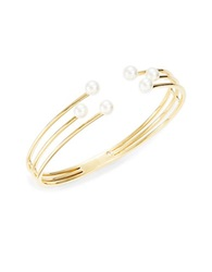 Nadri Golden Wire And Faux Pearl Hinge Bracelet
