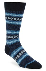 Pantherella Men's Fenton Fair Isle Cashmere Blend Socks Navy