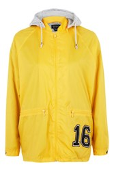 Topshop Slogan Hooded Windbreaker Jacket Yellow