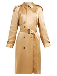 Burberry Double Breasted Silk Satin Trench Coat Beige
