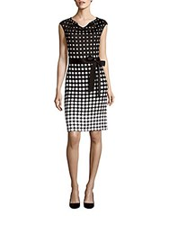 St. John Polka Dot Cap Sleeve Sheath Dress Black White
