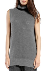 Michael Stars Sleeveless Side Slit Turtleneck Grey