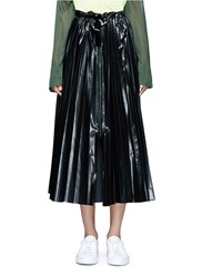 Toga Archives Tie Waist Laminated Effect Pleated Midi Skirt Black