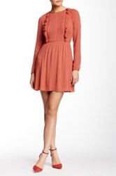 Fire Ruffle Trim Long Sleeve Dress Pink