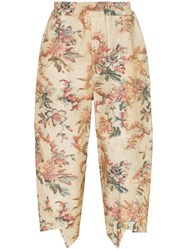 By Walid Artem Print Cropped Trousers Neutrals