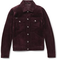 Tom Ford Slim Fit Suede Jacket Plum