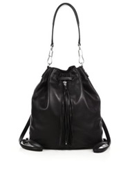 Elizabeth And James Cynnie Sling Tasseled Leather Backpack Black